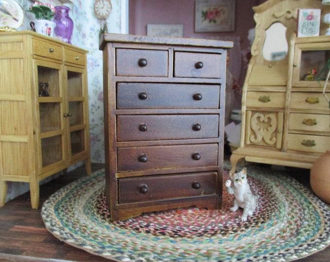 Miniature Dresser, Mini Walnut Finish Wood Dresser Chest, Style #84, Dollhouse Miniature Furniture, 1:12 Scale, Dollhouse Decor, Accessory