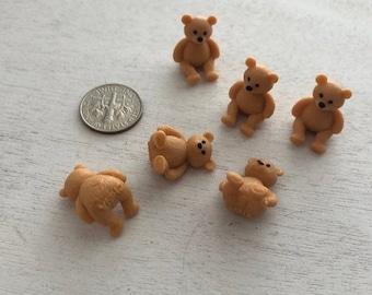 SALE Miniature Teddy Bears, Set of 6, Mini Plastic Bears, Crafts, Embellishment, Toppers