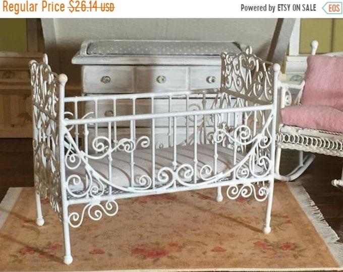 SALE Miniature White Metal Crib, Dollhouse Miniature Furniture, 1:12 Scale, Dollhouse Nursery Decor, Miniature Crib, Dollhouse Accessory