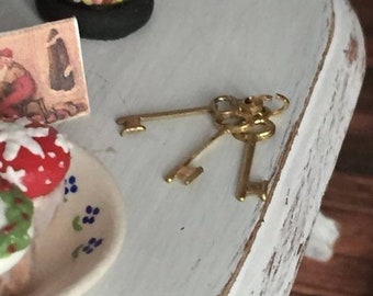 SALE Miniature Keys, Gold Keys on Ring, Dollhouse Miniature, 1:12 Scale, Mini Keys, Crafts, Dollhouse Accessory, Decor
