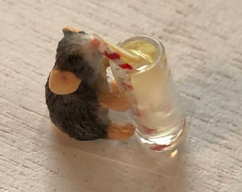 Miniature Mouse Figurine, Mouse Drinking Lemonade, #088, Dollhouse Miniatures, 1:12 Scale, Dollhouse Decor, Topper, Crafts, Shelf Sitter