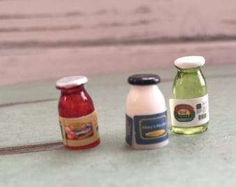 Miniature Condiments, Mayo Pickles Ketscup, Dollhouse Miniatures, 1:12 Scale, Dollhouse Kitchen Decor, Accessories