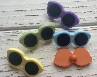 "SALE Sunglass Buttons, ""Summer Shades"" Packaged Novelty Button Assortment by Buttons Galore, Assorted Color Button Pack, Summer Glasses"