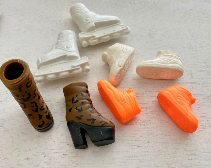 Barbie Ken Fashion Doll Shoes, Roller Blades, Boots, Sneakers, 4 Pairs, Set #1, Doll Shoes, Accessories