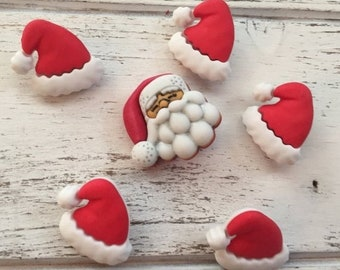 "SALE Santa Hat And Santa Buttons, Novelty Button Package by Buttons Galore, ""Santa's Hat Rack"", Style 4739, Shank Back Button, 6 Buttons Per"