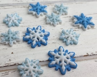 "SALE Blue & White Flat Back Snowflake Embellishment Package by Buttons Galore, ""Brrrr' Style 4796"