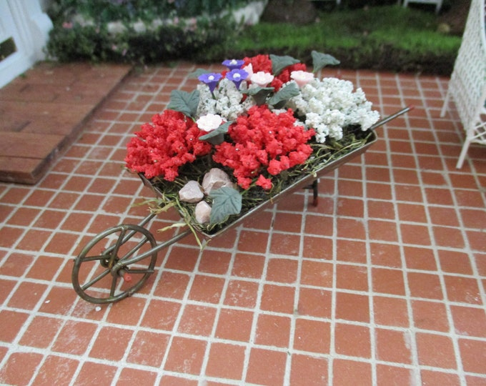 Miniature Flower Filled Wheelbarrow, Mini Metal Decorated Wheelbarrow, Dollhouse Miniature, 1:12 Scale, Dollhouse Decor, Mini Garden