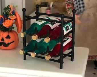 SALE Miniature Wine Rack With Wine Bottles, Black Metal Wine Rack, Dollhouse Miniatures, 1:12 Scale, Dollhouse Accessories, Decor, Mini Wine