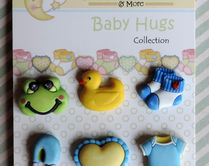 "Baby Buttons, Novelty Buttons, ""Little Baby Boy"" Baby Hugs Collection, Style BH101 by Buttons Galore, Carded Set of 6"