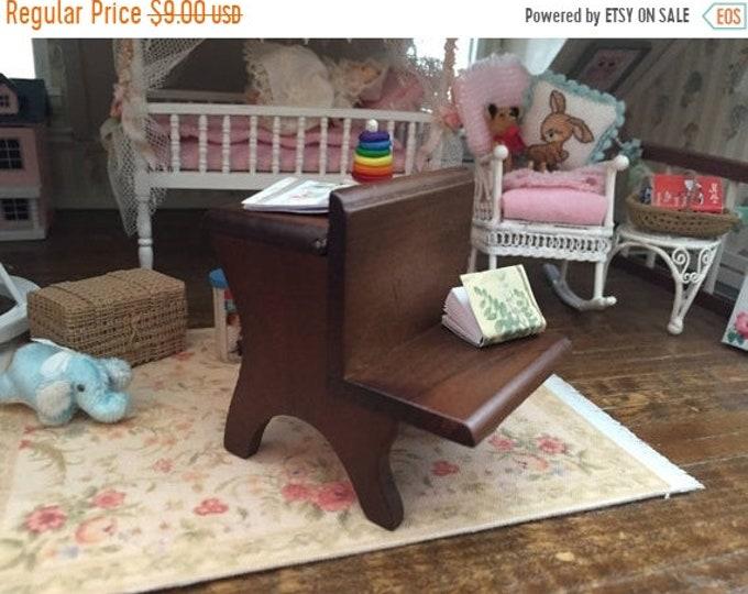 SALE Miniature School Desk, Vintage Style Wood School Desk, Dollhouse Miniature, 1:12 Scale, MIni Walnut Desk, Dollhouse Furniture