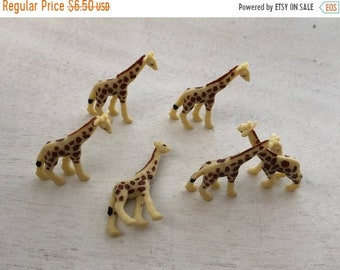 SALE Miniature Giraffes, Set of 6 Standing Plastic Giraffes, Great for Crafts, Toppers, Embellishments