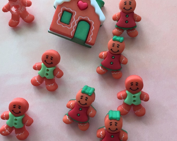 """Gingerbread Men & Gingerbread House Buttons, Packaged Novelty Buttons, """"Gingerbread Cottage"""" Style #4454 by Buttons Galore"""