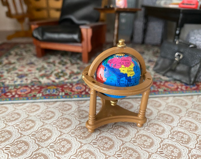 Miniature Globe, Mini Globe With Stand, Dollhouse Miniature, 1:12 Scale, Dollhouse Accessory, Decor, Crafts