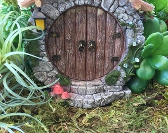 SALE Charming Round Fairy Door With Lantern, #4370, Miniature Gardening, Fairy Garden Accessory, Home and Garden Decor, Garden Supply