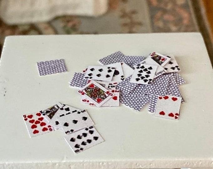 SALE Miniature Playing Cards, Dollhouse Miniature, 1:12 Scale, Dollhouse Decor, Accessory, Crafts, Mini Cards