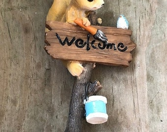 SALE Mini Sign, Squirrel and Bird Welcome Wood Look Sign, #4732, Fairy Garden Miniature Garden Decor Accessory, Topper, Gift, Cute Wood Look