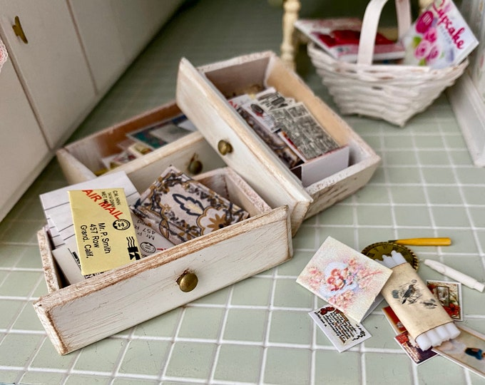 Miniature Junk Drawer Set, Drawer Packed with Misc Items, Book, Mail, Papers, Etc, Choose Style, Dollhouse Miniatures, 1:12 Scale