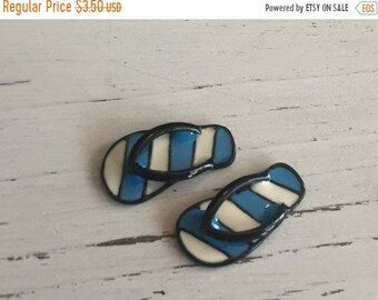 SALE Miniature Flip Flops, Blue and White Stripe Flip Flop Shoes, Sandals, Dollhouse Miniature, 1:12 Scale, Dollhouse Accessories, Mini Shoe