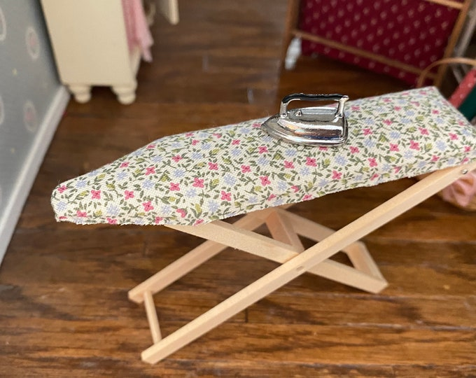 Miniature Ironing Board and Iron, Fabric Covered Folding Ironing Board, Dollhouse Miniature, 1:12 Scale, Dollhouse Accessory, Decor