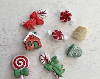 "SALE Christmas Candy and Sweets Buttons, Novelty Button Package by Buttons Galore, ""Holiday Sweets"" Style 4790, Assortment Pack"