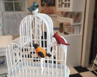 SALE Miniature Bird Figurines, Song Birds, 3 PC Set, Dollhouse Miniatures, 1:12 Scale, Mini Cardinal, Blue Jay, Miniature Birds, Bird Figuri