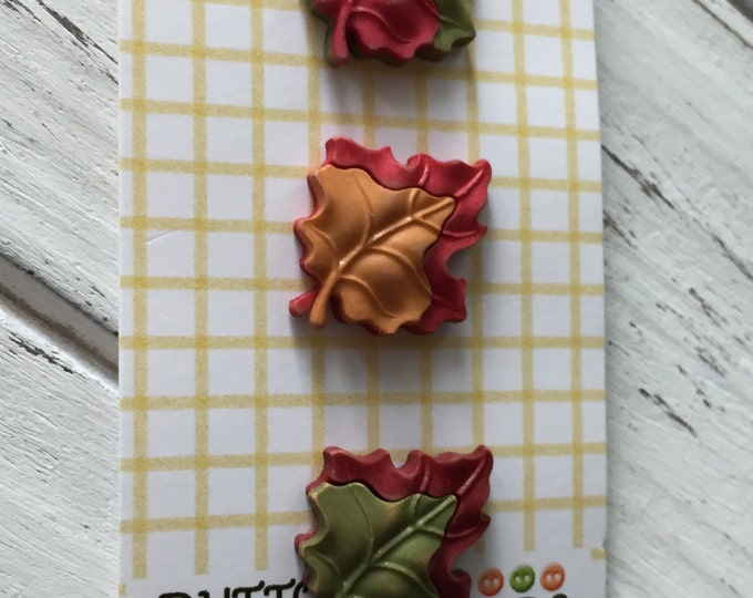 "Maple Leaf Buttons, Fall Friends Collection ""Maple Leaves"" Style FA123 by Buttons Galore, Carded Set of 3, Fall Leaves, Shank Back Buttons"