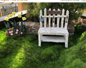 SALE Mini Picket Fence Potting Bench, Distressed Wood Look Bench, Fairy Garden Accessory, Miniature Home & Garden Decor