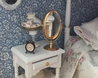 SALE Miniature Mirror, Table Top Brass Look Mirror, Vanity Mirror Dollhouse Miniature, 1:12 Scale, Mini Mirror, Dollhouse Accessory, Decor