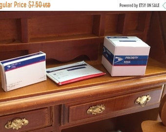 SALE Miniature Mail Boxes, Shipping Boxes, Dollhouse Office Supplies, Dollhouse Miniatures, 1:12 Scale, Dollhouse Shipping Supplies
