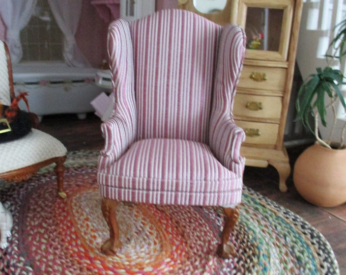 Miniture Armchair, Striped Fabric Covered Chair, CLEARANCE PRICED, Dollhouse Miniature Furniture, 1:12 Scale, Dollhouse Decor