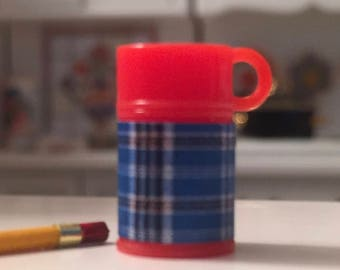Miniature Plaid Thermos With Red Top, Dollhouse Miniature, 1:12 Scale, Mini Thermos, Accessory, Decor