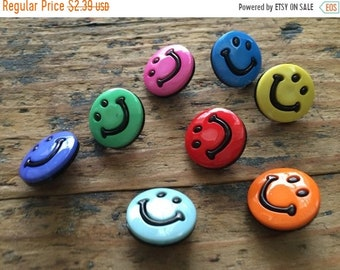 "SALE Smiley Face Buttons, Packaged Novelty Buttons by Buttons Galore, ""Smileys"" Style 4200, Shank Back Buttons, Sewing, Crafting Embellishme"