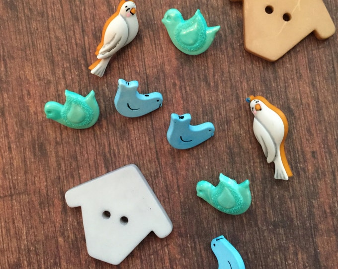 """Bird and Birdhouse Buttons, Packaged Novelty Button Assortment, """"Birds of a Feather"""",  Style #4446 by Buttons Galore, Birds & Birdhouse"""