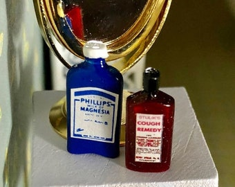 SALE Miniature Medicine Bottles, Milk of Magnesia and Cough Remedy Syrup, Dollhouse Miniatures, 1:12 Scale, Dollhouse Accessories, Decor, Cr