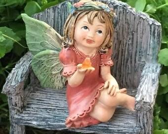 SALE Sweet Flower Crown Fairy Figurine, Sitting Fairy With Green Wings, Holding Gem, Fairy Garden Accessory, Miniature Garden Decor, Topper
