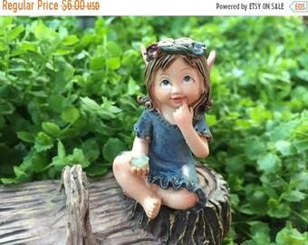 SALE Sweet Flower Crown Fairy Figurine, Sitting Fairy, Blue Dress, Holding Gem, Pink Wings, Miniature Garden Decor, Topper