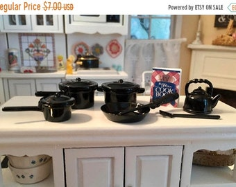 SALE Miniature Black Pots and Pans Set, Mini 10 Piece Cookware Set With Teapot & Spatulas, Dollhouse Miniatures, Accessories