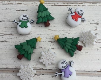 """SALE Snowman, Tree & Snowflake Buttons, Packaged Novelty Buttons by Buttons Galore, """"I Love Winter"""" Style 4788, Holiday Collection, Shank Ba"""