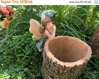 SALE Mini Fairy Planter, Fairy on Stump Log Look Planter, Fairy Garden Accessory, Mini Garden Decor, Home and Garden, Gift, Topper