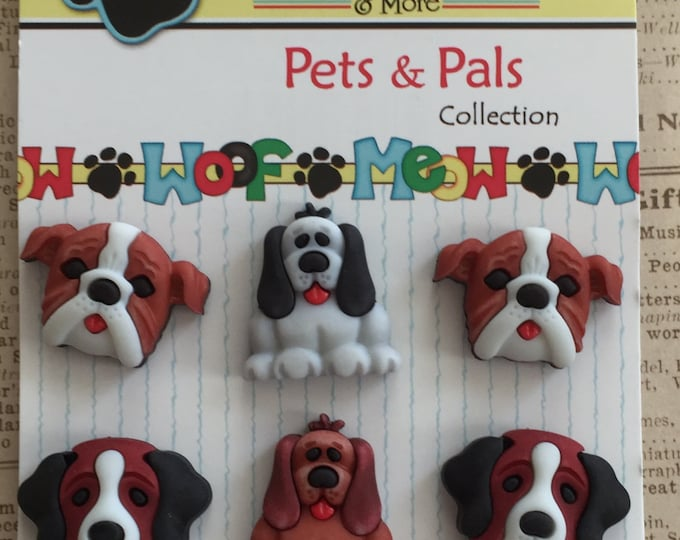 """Dog Buttons, """"Dog Days"""" Pets & Pals Collection by Buttons Galore, Carded Set of 6 Dog Buttons, Style PP102"""