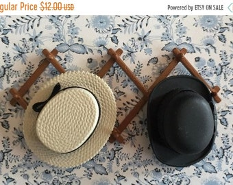 SALE Miniature Hat Rack With Two Hats, Black and Beige Straw Hat, Dollhouse Miniature, 1:12 Scale, Dollhouse Accessories, Decor Items