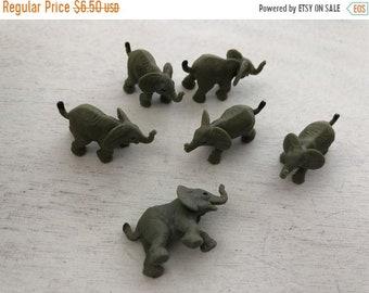 SALE Miniature Elephants, Set of 6 Standing Elephants, Plastic Elephants, Great for Toppers, Crafts, Embellishments