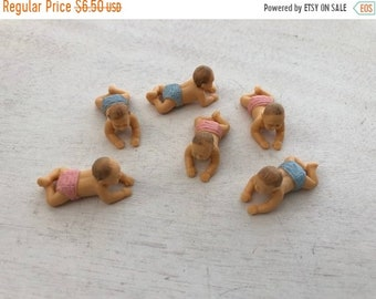 SALE Miniature Babies, Set of 6 Crawling, Plastic Babies, Great for Crafts, Toppers, Embellishments
