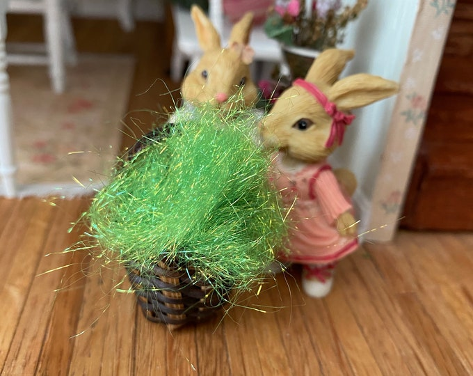 Miniature Basket Filler, Green Easter Grass, Mini Filler for Tiny Baskets, Gifts, Crafts