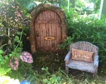 Beautiful Mystical Fairy Door, Wood Look Door, Style 4247, Miniature Gardening, Fairy Garden Accessory, Home & Garden Decor