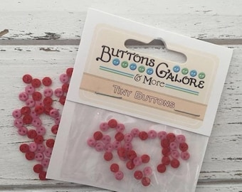 """SALE Micro Buttons, Tiny 4mm Buttons, Packaged Assortment, """"Sweetheart"""" Style 1800 by Buttons Galore, 2 Hole Buttons, Shades of Pink"""