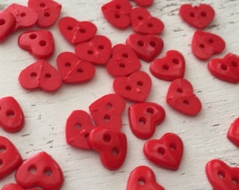 "SALE Tiny Heart Buttons, Packaged 2 Hole Buttons, Sew Thru Red Heart Buttons by Buttons Galore, Style 1826 ""Red Hearts"", Sewing, Crafting"