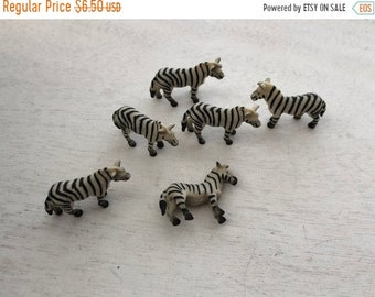 SALE Miniature Zebras, Set of 6 Standing Plastic Zebras, Great for Crafts, Toppers, Embellishments