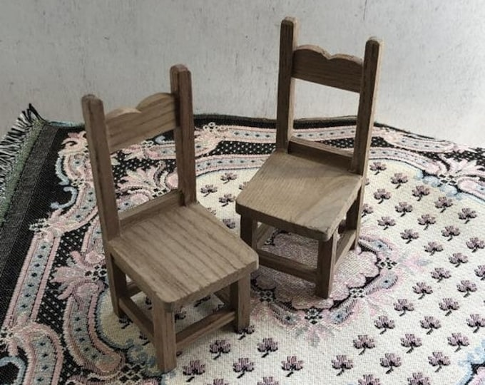 SALE Miniature Unfinished Wood Chairs, Set of 2 Kitchen Dining Chairs, Dollhouse Miniature Furniture, 1:12 Scale, Wood Chairs