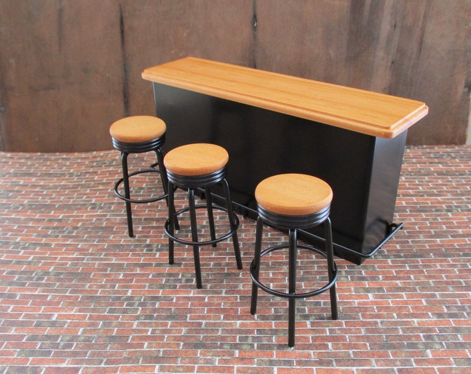 Miniature Counter Bar With 3 Stools, Mini Black Wood Bar Counter And Stool Set, Dollhouse Miniature Furniture, 1:12 Scale